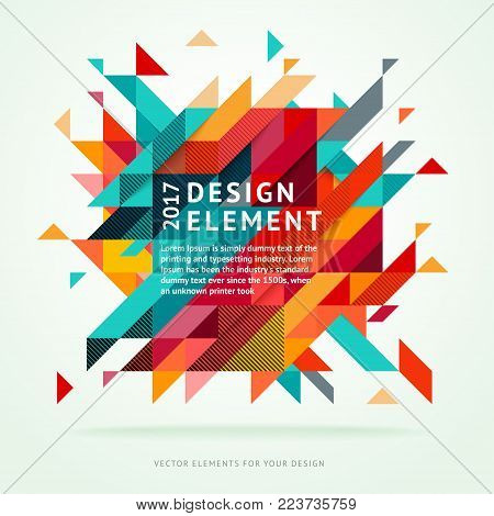Minimalistic bright design, creative concept, modern diagonal abstract background Geometric element. Red, green and yellow diagonal lines  triangles. Vector-stock illustration In a modern flat style.