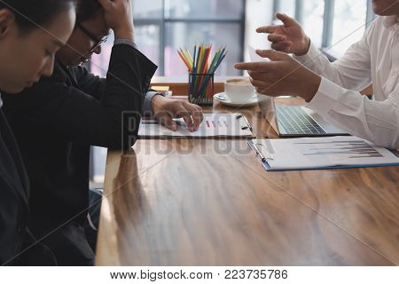 furious boss scolding frustrated woman at office. irritated man blames upset intern for failure at workplace. stressful work