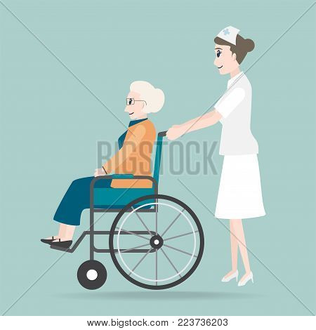 Nurse pushing wheelchair of elderly woman illustration, medical care concept