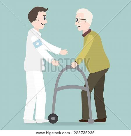 Man helps elderly patient with a walker vector illustration