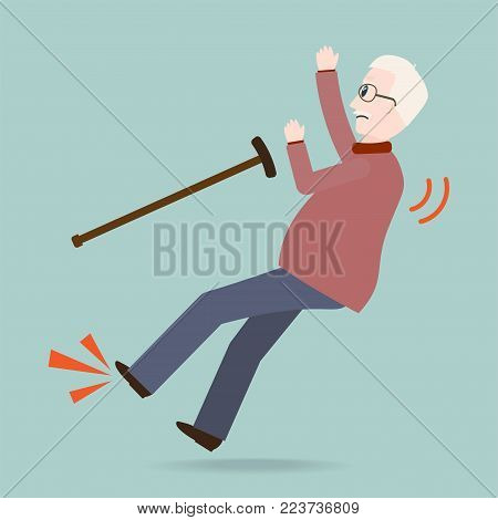 Elderly man with stick and slip injury, person injury icon
