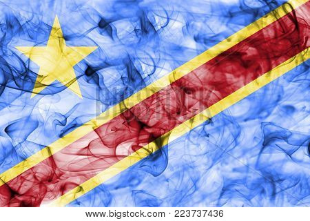 Democratic Republic of the Congo smoke flag isolated on a white background