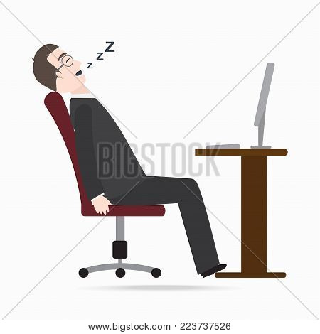 Man sleeping front of computer on work table blue icon