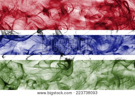Gambia smoke flag isolated on a white background