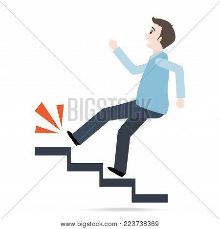 Man walking on stairs and injury,  person injury sign illustration