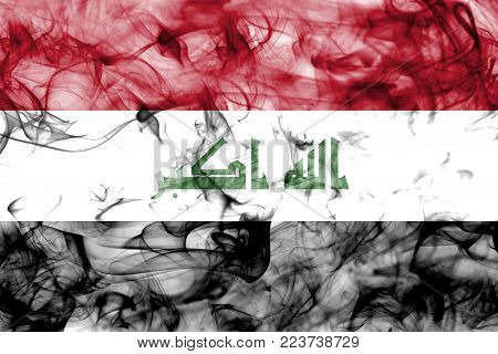 Iraq smoke flag isolated on a white background