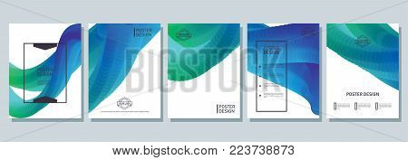 Abstract poster design. Cool flyer with bright gradient. Wave, overflow and blend on modern cover for corporation catalog. Vector illustration. Objects isolated on white background.