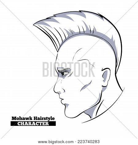 Mohawk Hairstyle Character, hand drawn style sketch.Profile view of man head person with punk haircut, concept for modern fashion barber shop, rock magazine, artist sign emblem, vector illustration