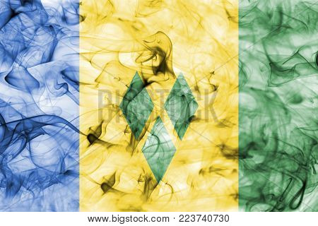 Saint Vincent and the Grenadines smoke flag isolated on a white background