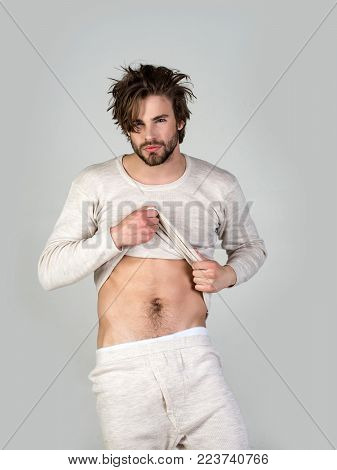 Man With Disheveled Hair In Underwear. Barber And Hairdresser, Male Fashion. Insomnia, Energy, Singl