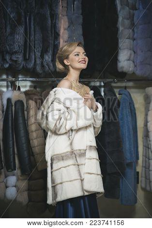 Shopping, Seller, Fashion Model, Customer. Fashion And Beauty, Winter, Fur. Woman In Fur Coat, Shopa