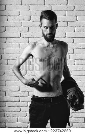 Handsome Bearded Man Or Hipster Guy Dieting With Bare Slim Or Thin Body, Chest And Torso With Anorex