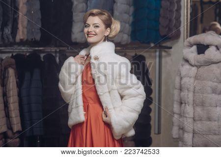 Woman In Fur Coat, Shopaholic. Shopping, Seller, Fashion Model, Customer. Sensual Woman In Fur, Luxu