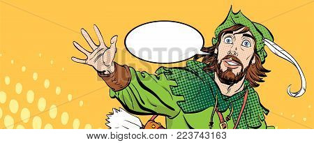 Amazed Robin Hood. Wondering Robin Hood. Robin Hood. Robin Hood in a hat with feather. Young soldier. Noble robber. Defender of weak. Medieval legends. Heroes of medieval legends. poster