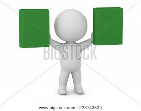 A 3D character holding up two green books. Isolated on white background.