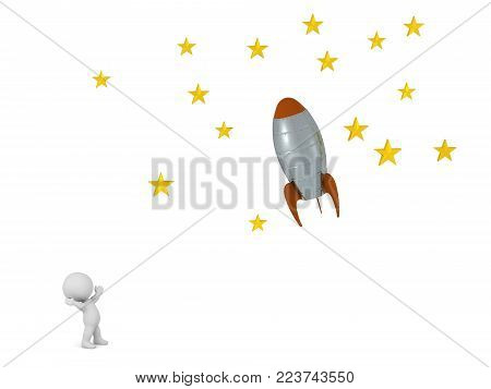A small 3D character looking up at rocket flying toward stars. Isolated on white background.