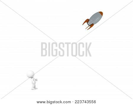 A small 3D character looking up at a flying rocket. Isolated on white background.