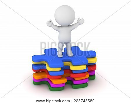 A 3D character standing with arms raised on a small stack of colorful puzzle pieces. Isolated on white background.