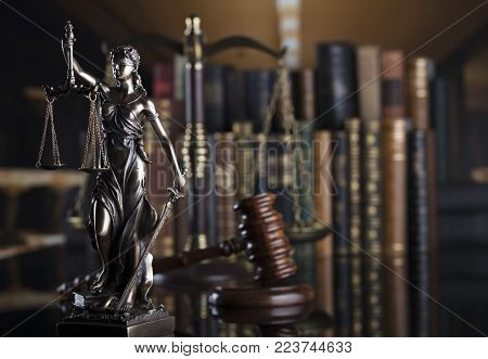 Law theme. Blind justice symbol - Themis.