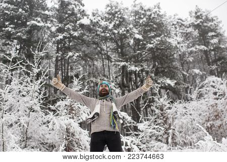 Skincare And Beard Care In Winter. Winter Sport And Rest, Christmas. Temperature, Freezing, Cold Sna
