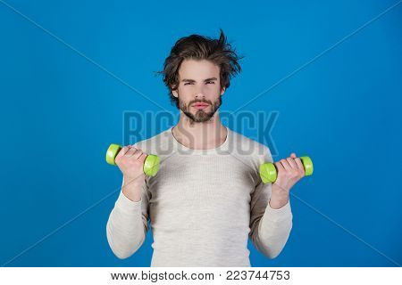 Man With Disheveled Hair In Underwear Training With Barbell After Wake Up In Morning, Sport And Heal