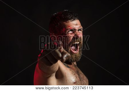 Man With Bloody Beard, Angry Face Point Finger On Black Background. Wizard, Sorcerer, Warlock. Magic