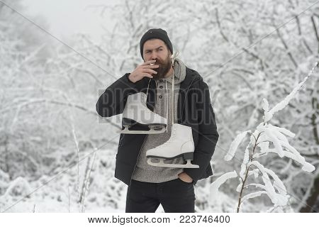 Man In Thermal Jacket, Beard Warm In Winter. Skincare And Beard Care In Winter. Temperature, Freezin