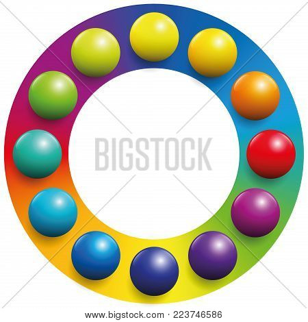 Color spectrum - twelve balls placed upon the respective complementary colors of a rainbow colored circle to increase their contrast. Illustration over white background.