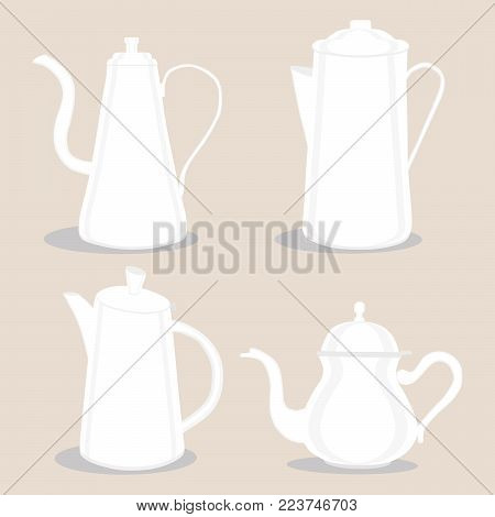 Abstract vector illustration logo for ceramic teapot, kettle on background. Teapot pattern consisting of glass kettles with handle, lid, spout for draining liquid coffee, tea. Kettle teas in teapots.