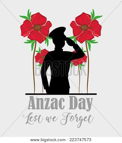 Anzac day with soldier memorial holiday vector illustration