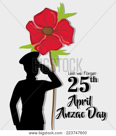 anzac day holiday on 25 april memory vector illustration