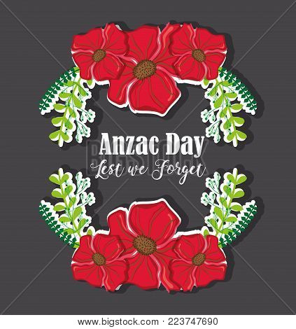 flowers and branches design to anzac day vector illustration