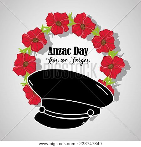 soldier hat to anzac day memorial vector illustration