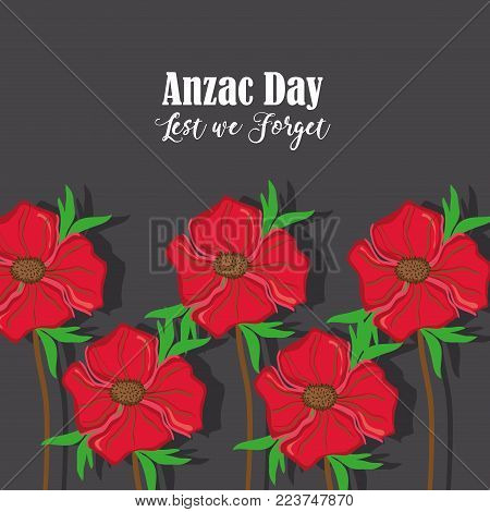 anzac holiday memorial with natural rose vector illustration