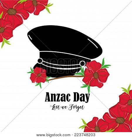 flowers design with hat soldier memorial vector illustration