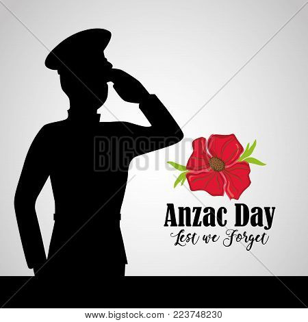 army soldier to anzac day memory vector illustration