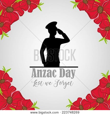 military soldier to anzac day and flowers vector illustration