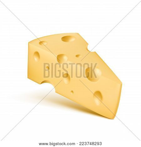 Cheese realistic vector 3D triangle piece. Illustration of dairy product Emmental or Cheddar hard cheese slice with holes isolated icon on white background with shadow for food design