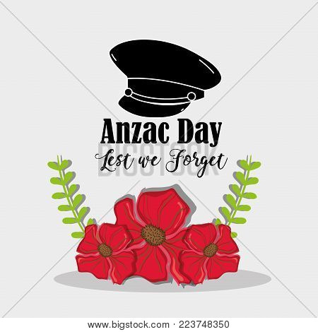 remambrance hat soldier to anzac day vector illustration