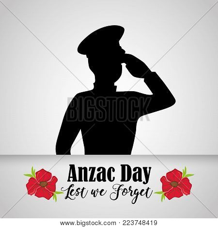 soldier military to anzac holiday memory vector illustration