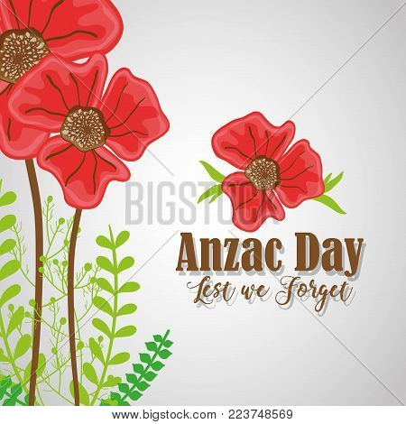 anzac day with flowers to remembrance war vector illustration
