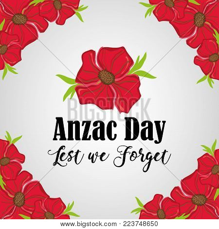 anzac day remembrance with flowers design vector illustration