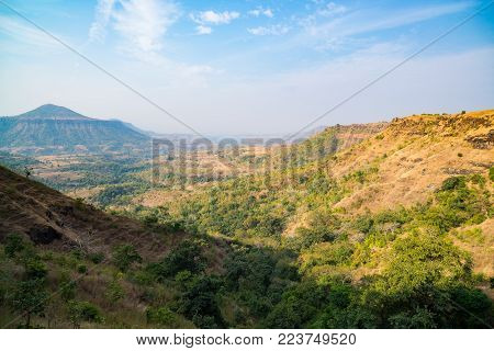 Hills Mountains Valleys Canyons, Misty Landscape In Madhya Pradesh, India
