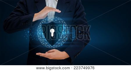 Earth polygon mesh planet World Businessmen shake hands to protect information in cyberspace. Businessman holding shield protect icon protection network security computer and safe your data concept