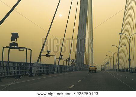 Vidyasagar Setu (Bridge) over river Ganges, 2nd Hooghly Bridge in Kolkata,West Bengal,India. Shot in winter morning. Connects Howrah and Kolkata, Longest Cable - stayed bridge in India.
