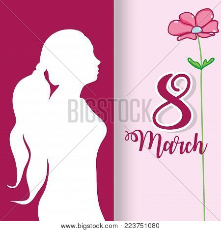 woman silhouette with flowercelebrating march 8 vector illustration
