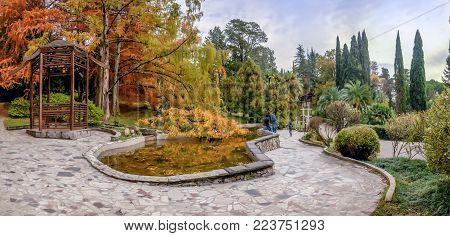 SOCHI, RUSSIA - NOVEMBER 12, 2017: Аrboretum - Japanese garden