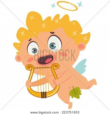 Cute cupid with a harp. Valentine's Day symbol. Cartoon vector illustration isolated on a white background.