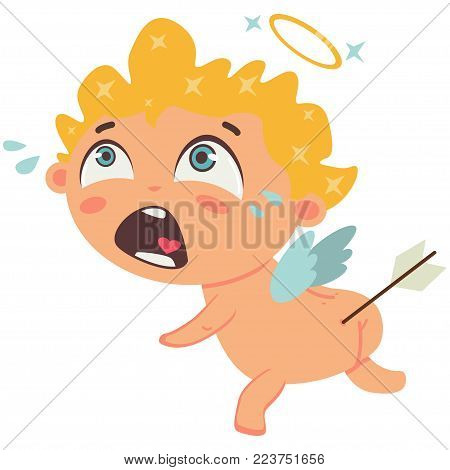 Cupid crying with arrow in the ass. Valentine's Day symbol. Cartoon vector illustration isolated on a white background.