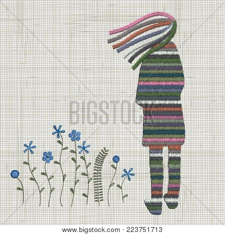 Embroidery cute girl and blue pink flowers. Vector Embroidery home decor, ornament for textile, fashion, fabric pattern. Linen cloth texture. Colorful traditional folk decoration.